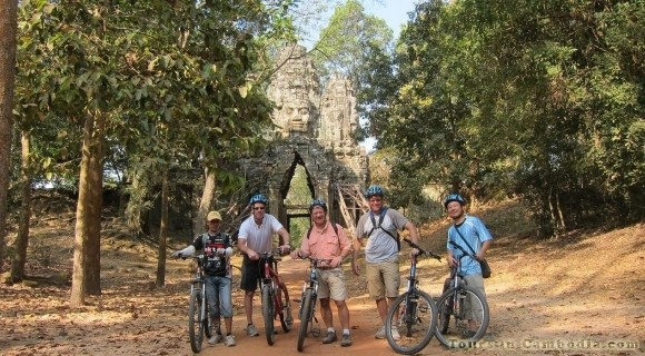 Cycling in Angkor Thom Temple