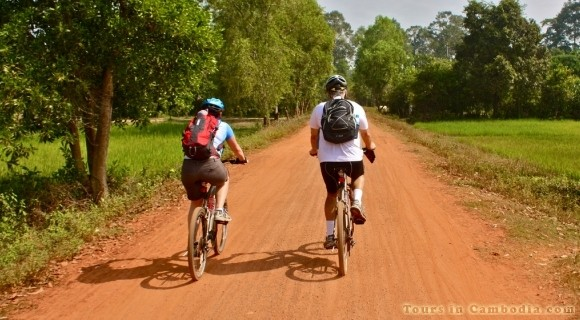 Cycling in Kampong Phluk Village